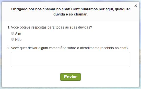 Pesquisa de satisfação exibida após o término do chat.
