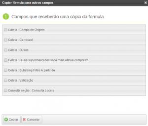 Plataforma de Aplicatrivos uMovme - Campos que receberão a fórmula