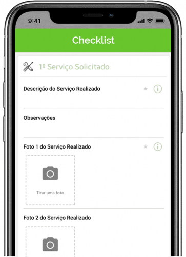 Tela de app de facilities - checklist