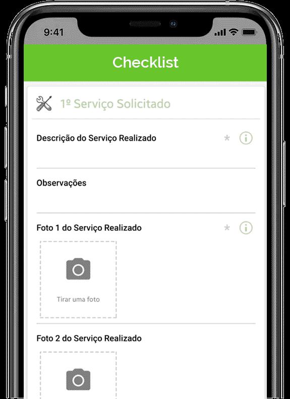Tela de app de facilities - checklist