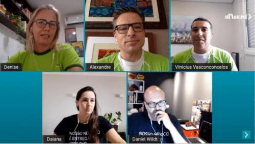 Denise Pagnussatt, Alexandre Trevisan, Vinícius Vasconcelos, Daiana Garcia e Daniel Wildt em live de comemoração aos 10 anos da uMov.me